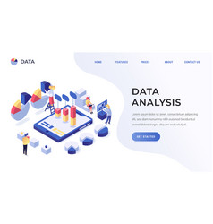 data analysis landing page vector image