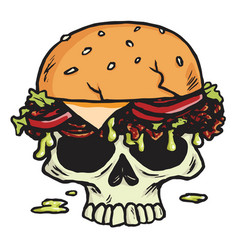 dead skull burger hamburger fries vector image