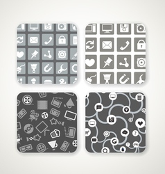 Different patterns with icons set vector image