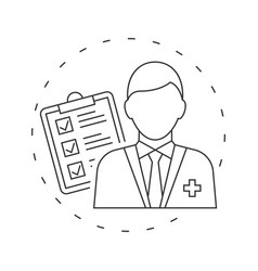 doctor with medical test icon on white background vector image