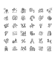 Doodles business icons set black and white vector image