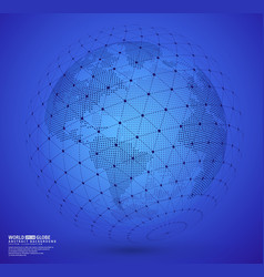 Earth globe with wireframe sphare vector