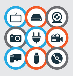 electronics icons set with computer tv web vector image