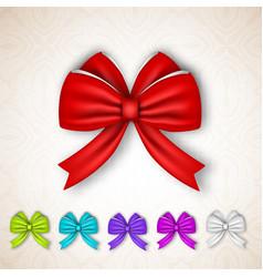 Festive gift satin ribbon bows set vector