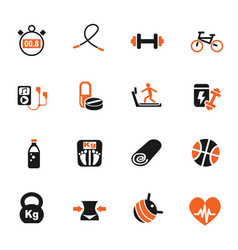 fitness icon set vector image