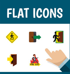 flat icon door set of emergency entry vector image