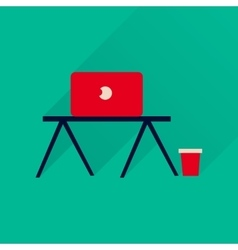 Flat icon with long shadow laptop table vector