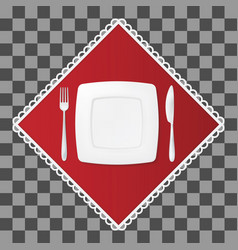 Fork and knife with a square plate on red napkin vector
