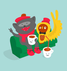 friends drink coffee cartoon vector image