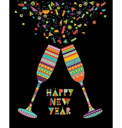 Fun happy new year design of drink glass party vector image