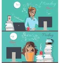 Girl at beginning and at and week vector