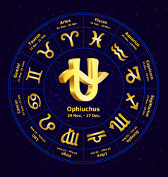 gold sign of zodiac ophiuchus in circle vector image