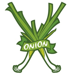 Green onion label vector