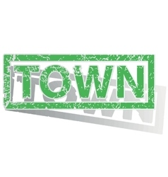 Green outlined TOWN stamp vector image