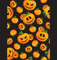 halloween pumpkin seamless pattern on black vector image