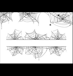 Halloween spiderweb border cobweb corner vector