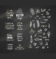 hand-drawn chalk quotes about sea ocean vector image