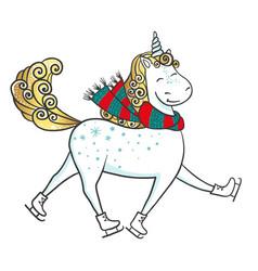 hand drawn cute magic unicorn on skates vector image
