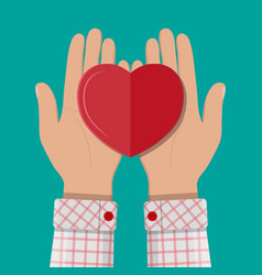 Hands giving red heart vector