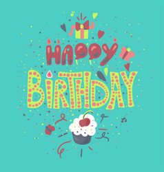 happy birthday hand drawn color lettering vector image