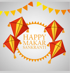 Happy makar sankranti with party banner and kites vector
