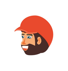 head of man with beard and cap vector image