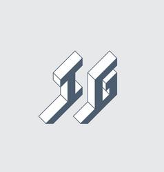 Ig - logo or 2-letter code isometric 3d font vector