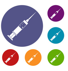 Injection syringe icons set vector