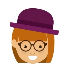 Isolated hipster girl cartoon design vector