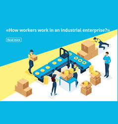 Isometric article banner large warehouses vector