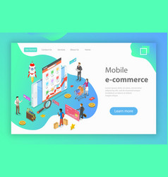 isometric flat concept of mobile vector image