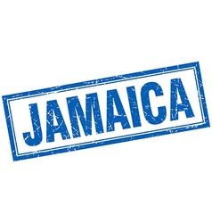 Jamaica blue square grunge stamp on white vector