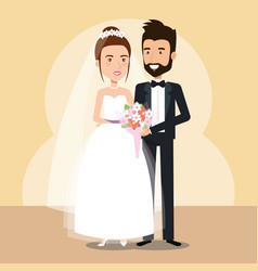Just married couple avatars characters vector