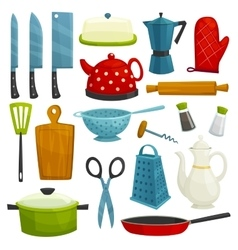 Kitchen utensils and kitchenware icons vector