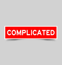 Label square red sticker in word complicated on vector