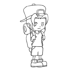 Line-art of a boy with backpack vector