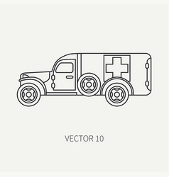 Line flat plain icon ambulance army van vector