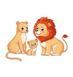 lion family sits on a white background vector image
