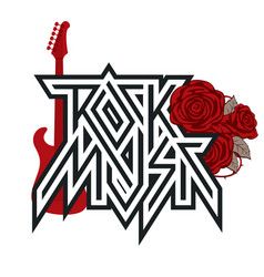 Logo rock music with red roses and guitar vector