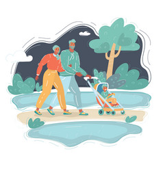 man and woman walking with them bain park vector image