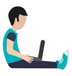 Man using laptop icon vector