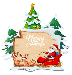 merry christmas font logo on wooden board vector image