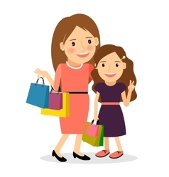 Mom and daughter shopping day vector