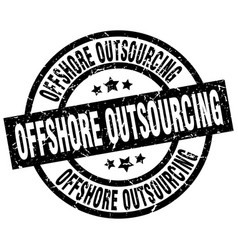 offshore outsourcing round grunge black stamp vector image