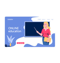 online education concept with character teacher vector image