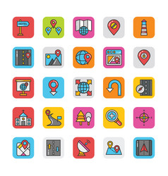 Pack colored maps and navigation flat icons vector