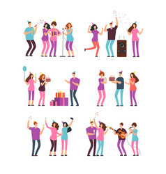 people groups at family birthday party vector image