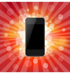 Phone And Red Sunburst vector image