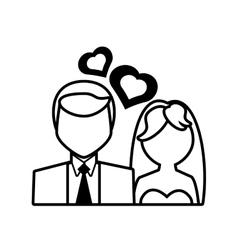 pictogram couple wedding heart design vector image