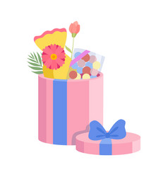 pink festive opened gift box with blue bow vector image